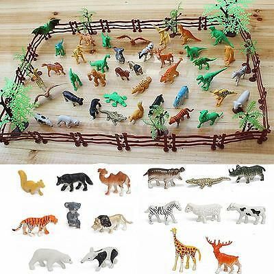 68PCS Plastic Farm Yard Wild Fence Tree Animals Model Kids Toys Figures Play Set