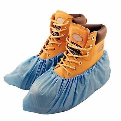 100 Pairs of Large Blue Disposable Plastic Overshoes