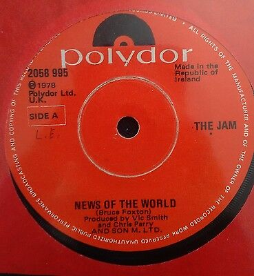 "The Jam News of The World Irish 7"" Red label RARE Punk New Wave Clash Pistols"