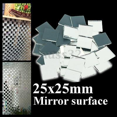 "Mini 25mm 1"" Inch Small Square Glass Mirrors Bulk 100 Pieces Mosaic Tiles"