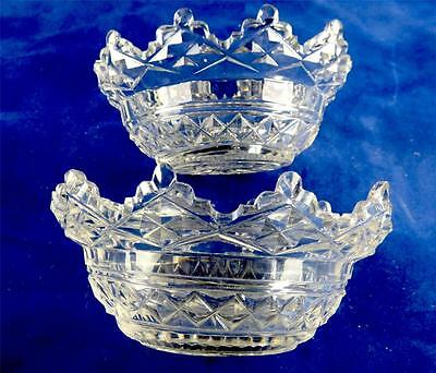Pair Antique Regency Anglo-Irish Cut Glass Bowls Dishes Salts Liners