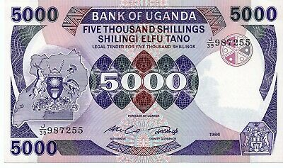 Uganda ... P-24b ... 5.000 Schillings ... 1986 ...*CHOICE UNC*