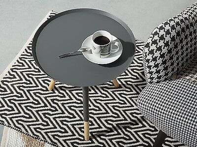 Coffee table Living Room Round Steel Rubber wood Tripod Grey