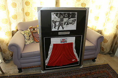 Joe Frazier Signed Shorts VS Muhammad Ali - Framed - SEE FULL DESCRIPTION