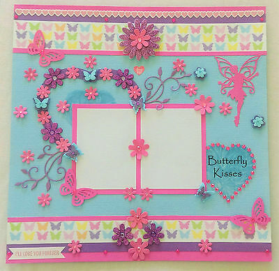"""GORGEOUS HANDMADE SCRAPBOOK PAGE  - 12""""x12"""" -  Butterfly Kisses !!!"""