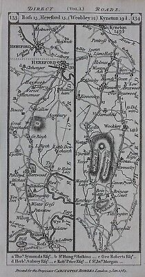 Original antique map HEREFORDSHIRE, ROSS, HEREFORD, WORCESTER, Paterson 1785