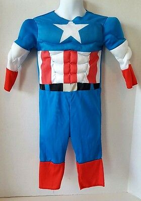 Captain America Toddler Boys Muscle Suit Costume Size 2T