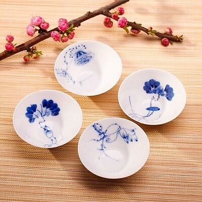 4pcs Jingdezhen Hand-painted blue and white porcelain tea cup--4 stages of lotus