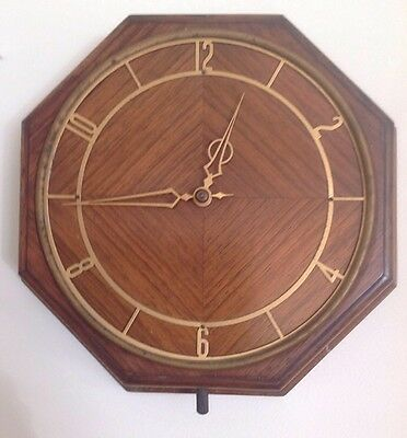 "Antique Smiths Sectric Wall Clock Octagonal 9"" X 9"" untested"
