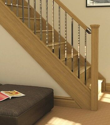 AXXYS Squared Chrome and Oak Stair and Landing Balustrade Sets