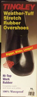 TIngley 1300 Mens Hi-Top Weather-Tuff Rubber Overshoes - XL Size 11 to 12.5