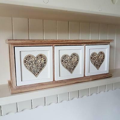 Triple Drawer Wooden Chic N Shabby Kitchen Bedroom Bathroom Storage With Hearts