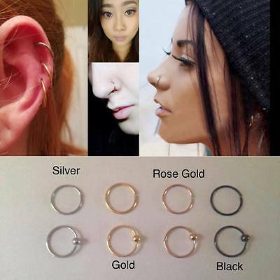 Surgical Steel Ring Hoop Ball Septum Nose Lip Ear Tragus Helix Piercing Daith