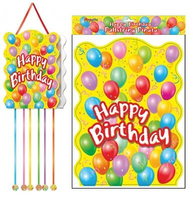 Happy Birthday Pullstring Pinata - 40cm x 30cm - Loot/Party Game Toy Kids Hang