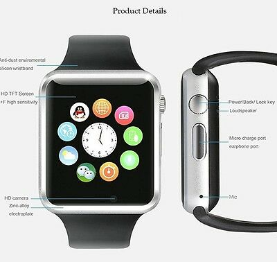 New A1 Smart Watch With Sim Card slot Camera  Bluetooth for Android IOS UK fast