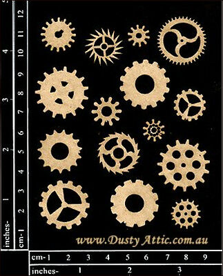 Dusty Attic Laser Cut Chipboard Scrapbook Embellishment MINI COGS #1 DA0689 NEW