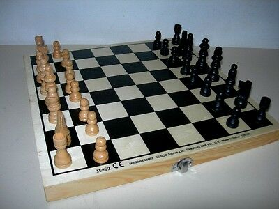 Wooden Folding Chess Board,Wood Chessmen,Draughtsmen,Draughts Pieces,Full Set