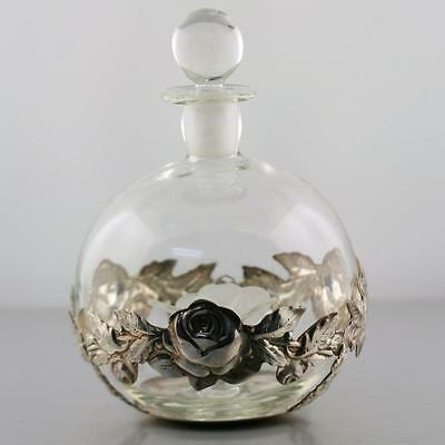 Vintage Ari D Norman English Sterling Silver Glass Flower Perfume Bottle