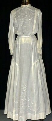 dress white  Edwardian embroidered long linen 2 piece Victorian antique 1890