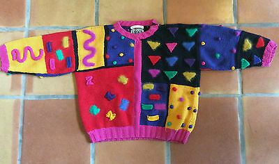 VINTAGE 1980s FORENZA COLORFUL NEW WAVE CROP SWEATER S