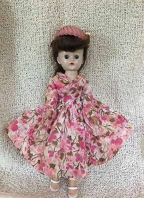 Vintage Gorgeous 1958 Vogue Jill Doll Rare Swirl Ponytail Floral Dress Outfit