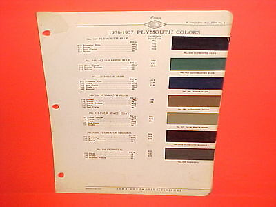 1936 1937 Plymouth Business Coupe Deluxe Convertible Touring Sedan Paint Chips