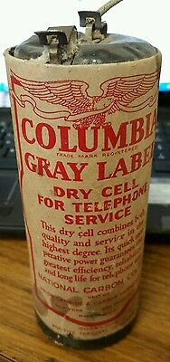 Vintage Eveready Columbia Gray Label Long Life Telephone Cell Batteries