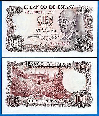 SPAIN P-152 100 PESETAS YEAR 17.11.1970 Uncirculated FREE SHIPPING