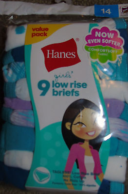nwt  girls size 14 Hanes Girls tagless no ride up Cotton Low Rise Briefs 9-Pack