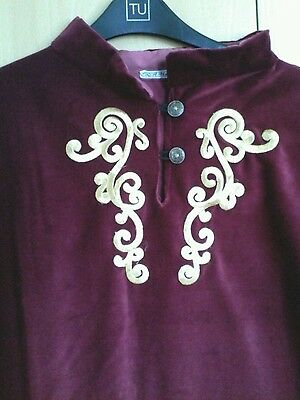 Medieval style over Tunic,  RED BURGUNDY Large,  Cotton velvet. LARP,  feasting.