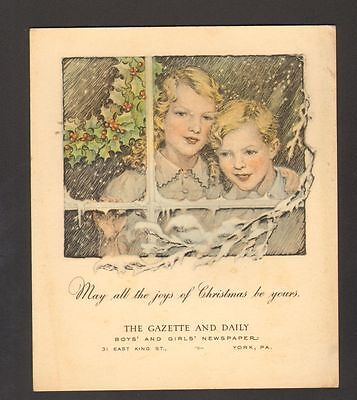 Undated Advertising Christmas Card The Gazette and Daily Newspaper York PA Snow