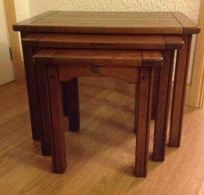 Nest of 3 Tables Dark Oak Coloured Wood By Sherry