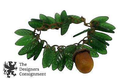 Excellent Vintage Costume Jewelry Pine Cone Bracelet Glass Leaves Acorn Charm