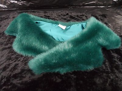 Teal Green Faux Fur Coat or Sweater Clip On Collar NWOT