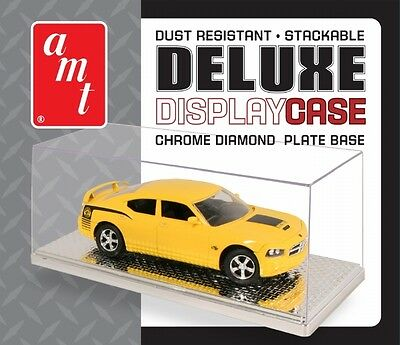 AMT Deluxe Clear Display CASE with chrome base for 1/24 and 1/25 cars and trucks