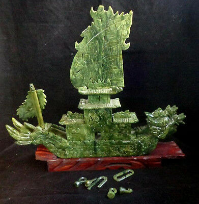 Ancient Chinese Green Jade Carved Dragon Boat Dragons Ship Statue Repair