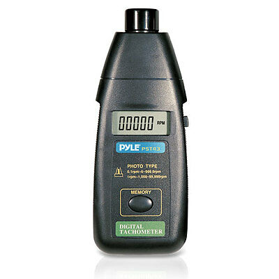 Pyle PST43 Non Contact Laser TacHometer Extended RPM Digital LCD Screen w/ Case