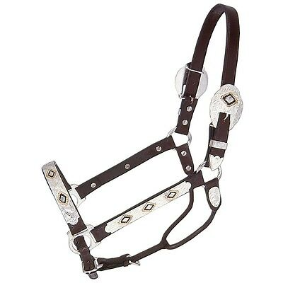Horse Silver Show Halter - Gold & Black Diamonds  - Matching Lead Shank