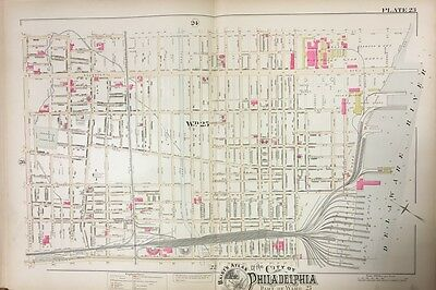 1888 Philadelphia Port Richmond - Riverdale Glue Works Pa Copy Plat Atlas Map