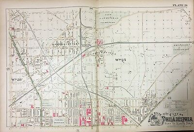 1888 Philadelphia Rising Sun Franklinville, Coopersville Pa Copy Plat Atlas Map