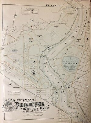 1888 Philadelphia Art Museum 1876 Centennial Exhibition Fairmount Park Atlas Map