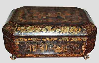 Antique Early 19th century Export Chinoiserie Tea Caddy Gilt Lacquer