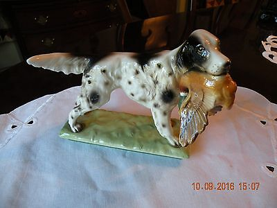 Springer Spaniel Porcelain Dog Figurine on Base