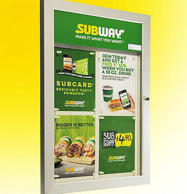 Menu Display Case illuminated LED - 4 x A4 Lockable