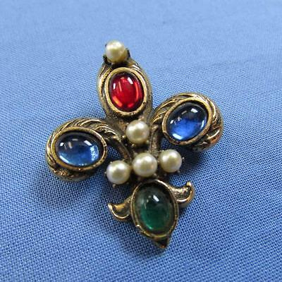 Vintage Fleur de Lis Brooch w/Colored Stones and Pearl Beads (17017742A)