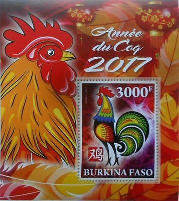 2017 Chinese Year of the Rooster / Annee du Coq - Burkina Faso s/s MNH #VG2062