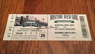 """DAVE """"BOO"""" FERRISS SIGNED BOSTON RED SOX 2012 TICKET 100 Years Of Fenway Park"""