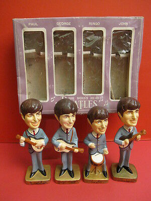 All Original The Beatles Bobbin Head Set Car Mascots Inc 1964 Japan Mint + Box