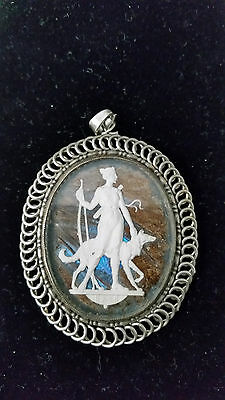 Vintage Original Butterfly Wings Sterling Borzoi Russian Wolfhound Pendant