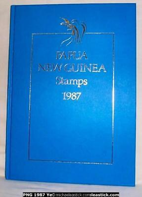 1987 Papua New Guinea Year Book with complete set of stamps in book as issued.